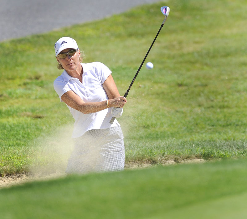 Kristin Kannegieser hits out of the trap on the 14th hole during the second round of the tournament.