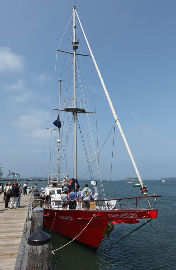 The Ocean Alliance's laboratory-equipped sailboat Odyssey is shown docked at a South Portland pier before its departure for the Gulf of Mexico.