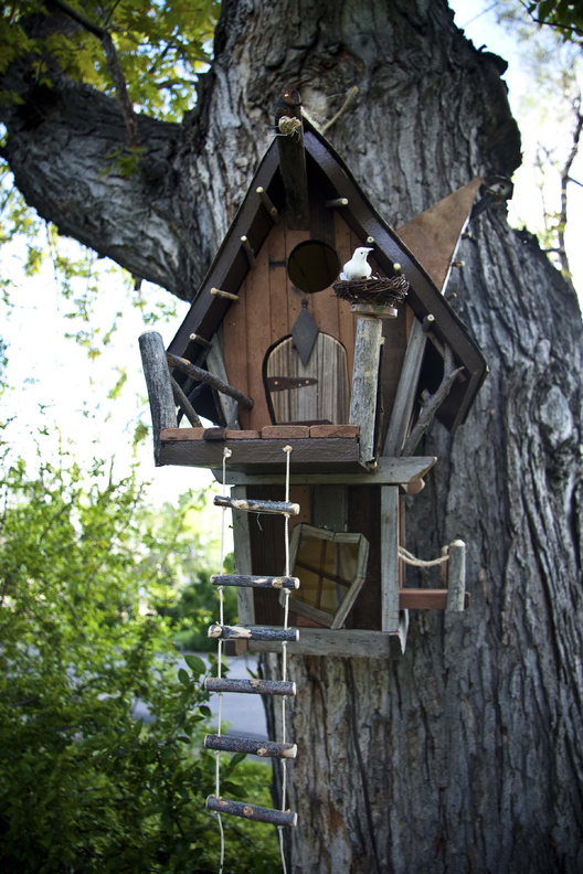 A birdhouse designed by Chad Blecha and built by Alan Mowrer of Crooked Creations