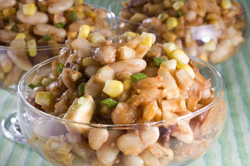Barbecue bacon and bean salad makes a welcome change from the usual summer fare of pasta or potato salad.