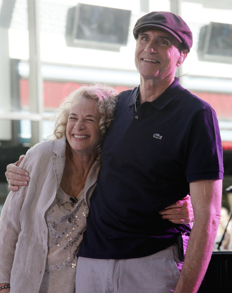 "Carole King and James Taylor in June during the NBC ""Today"" show. King has put her Idaho ranch back on the market for a reduced price of $16 million."