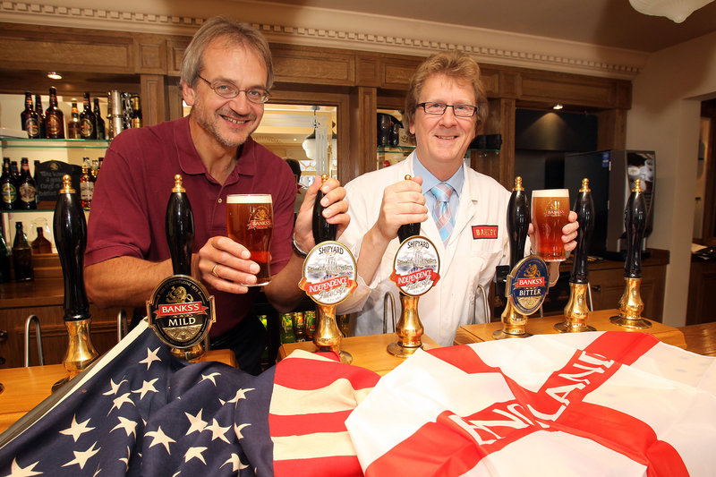 Alan Pugsley, left, created a new brew across the pond.