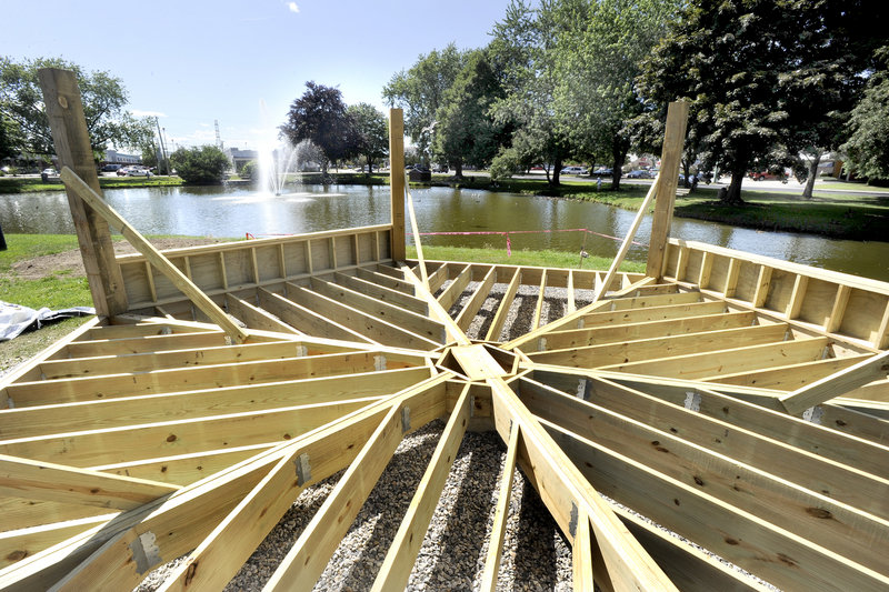 Mill Creek Park in South Portland is undergoing a face-lift that includes this new gazebo, expected to be finished by the end of this month.