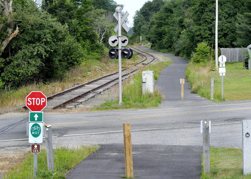 The Mountain Division Trail is seen here looking north crossing Route 237 in Gorham.