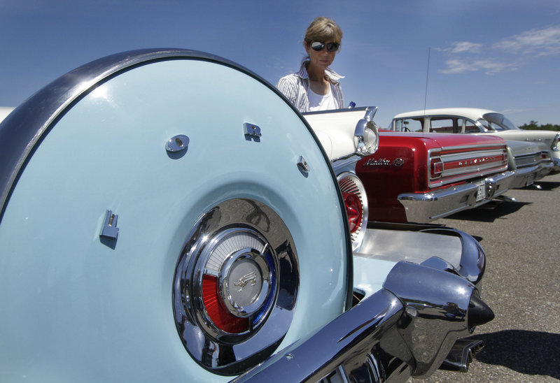 Jane McVay of Sedgwick admires the lines of a 1959 Ford Galaxy.