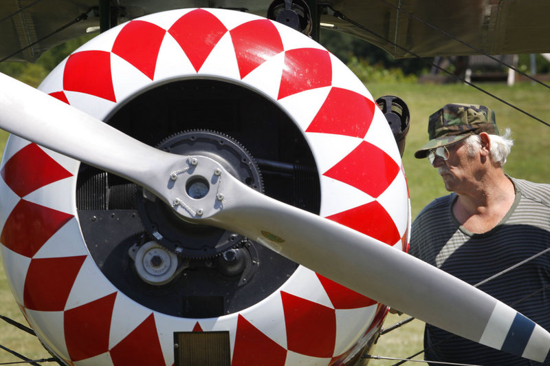 Paul French of Dexter checks out a Nieuport 26 experimental airplane that was manufactured in 1936.