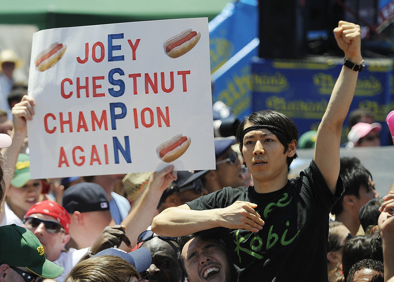 Takeru Kobayashi appears at the hot dog contest before his arrest.