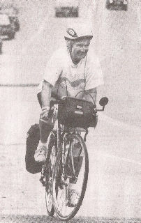 Vera Warner is shown at age 71 on her 350-mile bike trip from Albany, N.Y., to Saco.