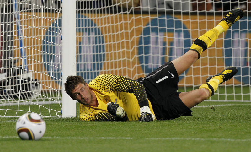Netherlands keeper Maarten Stekelenburg stops a shot Tuesday. Uruguay scored in extra time to cut the Netherlands' lead to 3-2. Uruguay pressed late but fell short.