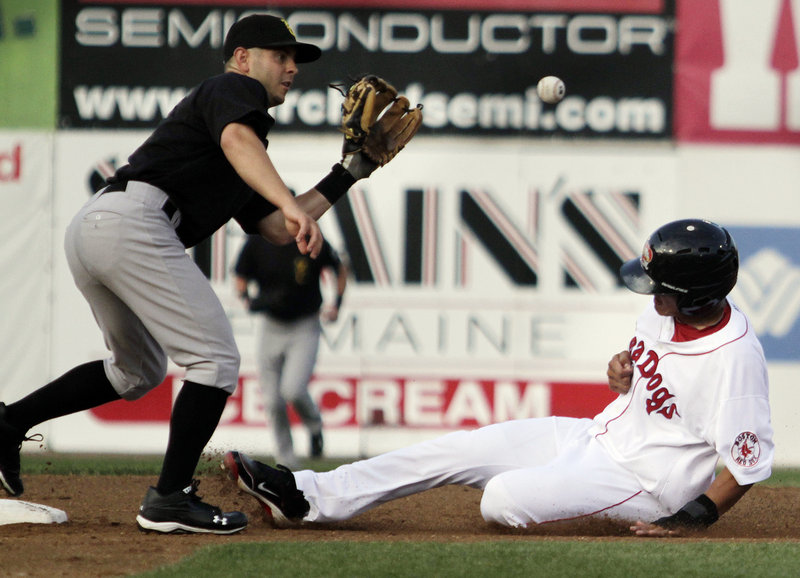 Portland's Chih-Hsian Chiang steals second base, beating the throw to New Hampshire's Jonathan Diaz during the first inning Tuesday night at Hadlock Field. The Fisher Cats took the lead on slugger Shawn Bowman's three-run homer in the fifth, and Portland lost its fourth in a row.