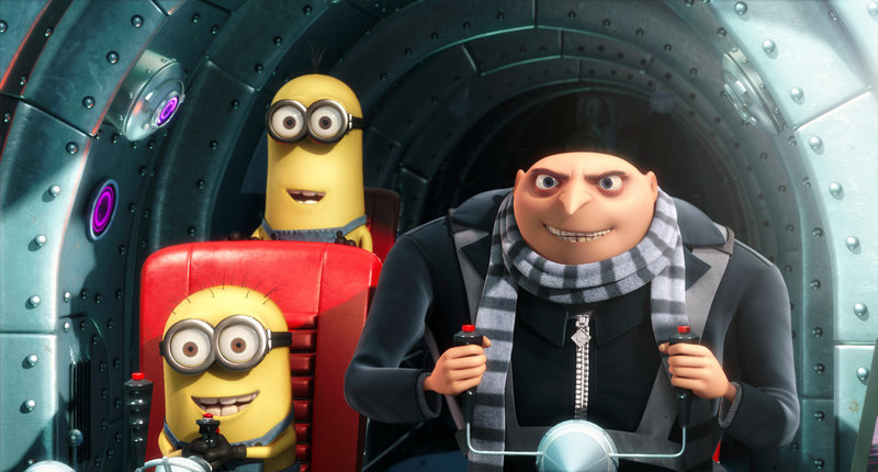 "Gru, voiced by Steve Carell, is shown with two of his minions in ""Despicable Me."""