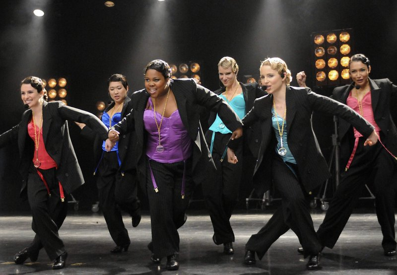"""Members of the cast of """"Glee"""" perform in an episode of the popular show that received 19 Emmy nominations."""