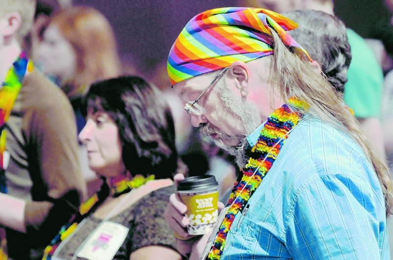 Gay marriage supporter Steven Webster of Madison, Wis., listens during a debate Friday at the General Assembly of the Presbyterian Church in Minneapolis.