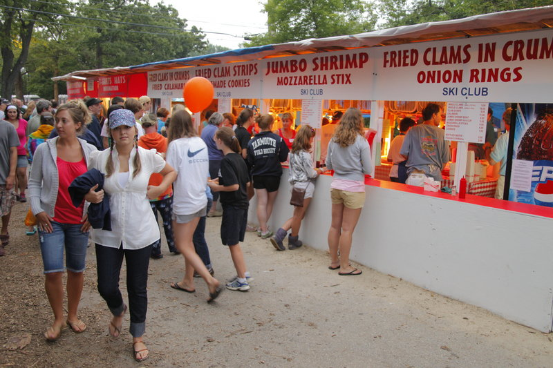 Food booths serve clams prepared several ways, but also offer lobster, calamari, chicken and a wide variety of summer festival fare.