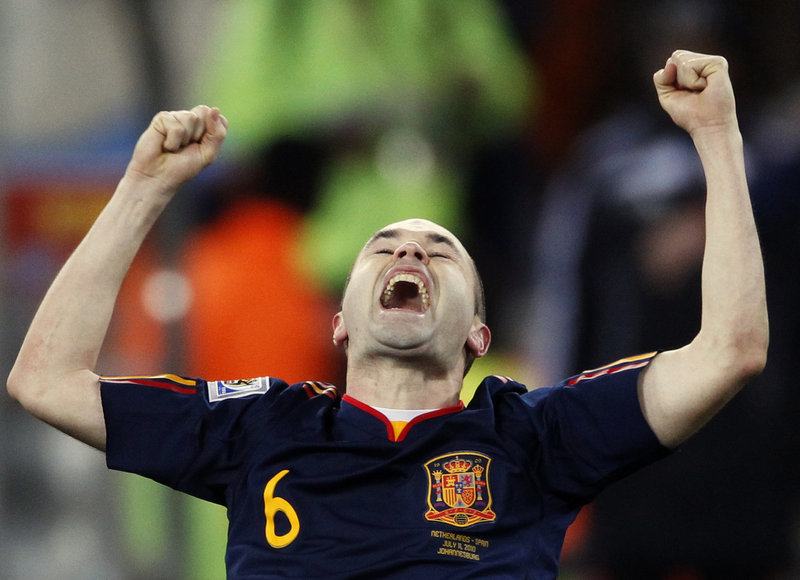 Andres Iniesta celebrates his goal that put Spain ahead 1-0 with about seven minutes left in extra time in the World Cup final.