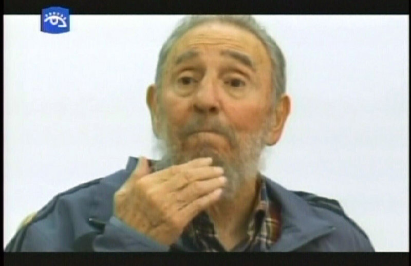 Fidel Castro, Cuba's former president, is seen as he speaks during an interview in Havana on Monday. A serious illness forced him to cede power to his brother Raul four years ago.
