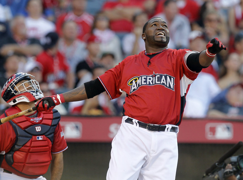 David Ortiz of the Red Sox watches a home run during the first round of Monday's Home Run Derby in Anaheim, Calif. Ortiz was the winner, beating former Sea Dog Hanley Ramirez in the final. �