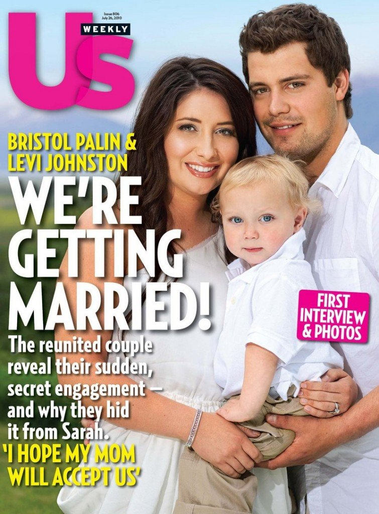 Bristol Palin, 19, daughter of former Alaska Gov. Sarah Palin, poses with her fiance Levi Johnston, 20, and their18-month-old son, Tripp, on the cover of the July 26 issue of Us Weekly.