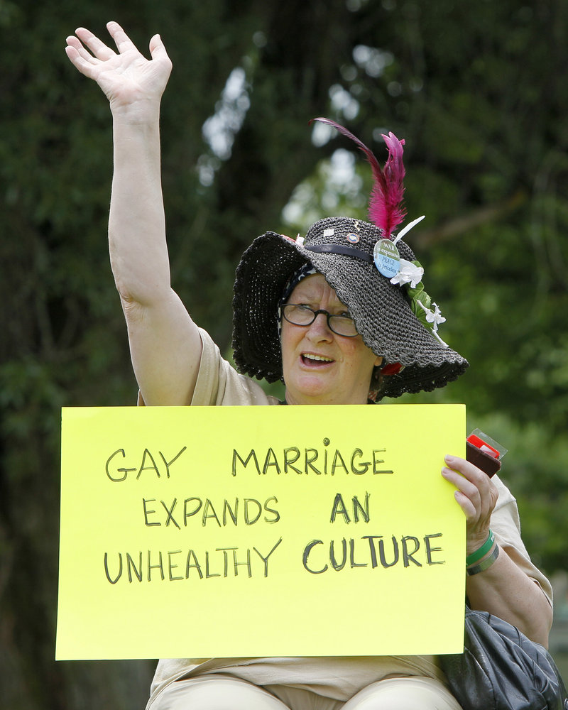Madelyn Fijalek of Farmington makes her feelings known during the rally against gay marriage. Voters repealed the state's gay-marriage law last fall, 53-47 percent.