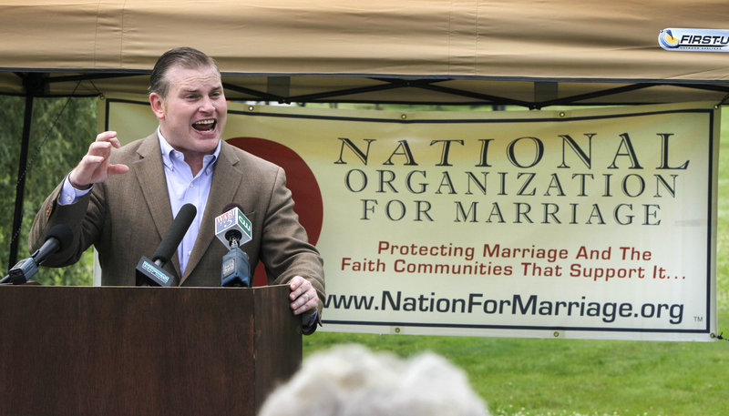 Brian Brown, executive director of the National Organization for Marriage, makes a point during a rally for opponents of same-sex marriage Wednesday in Augusta.