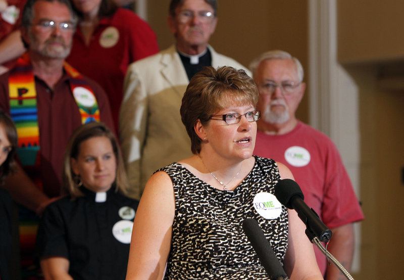 Bev Uhlenhake of Bangor speaks in favor of gay marriage at the State House. Supporters in Maine say they don't have a time line to bring the issue back before the Legislature.