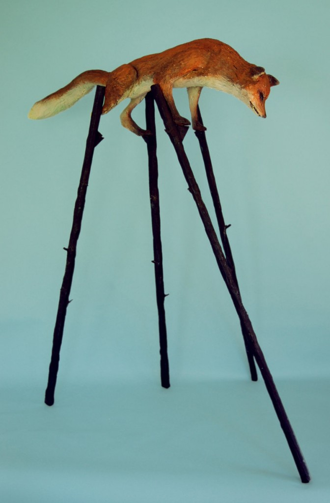 """Fox on Stilts,"" various media, by Andy Rosen is part of the group show at Whitney Art Works in Portland."