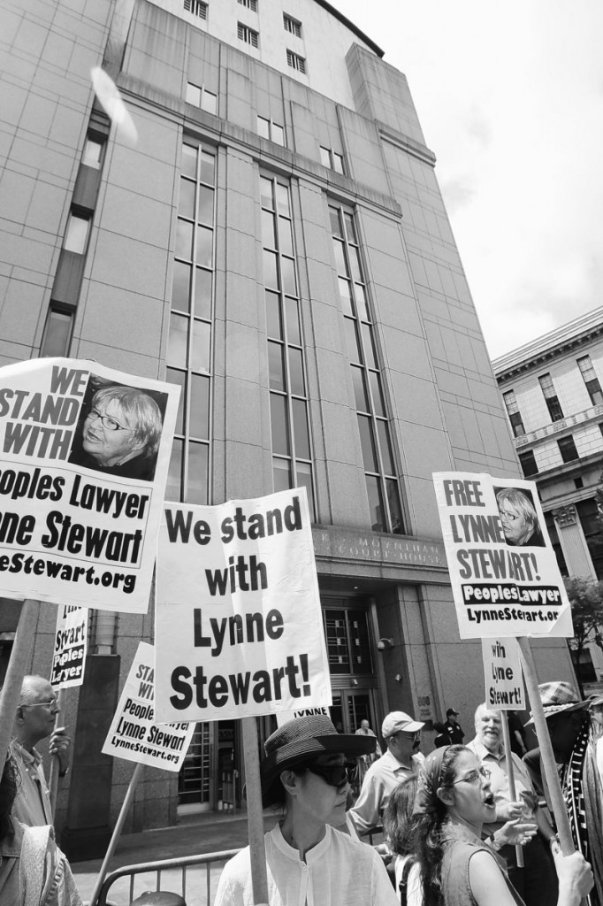 Supporters of lawyer Lynne Stewart gather near federal court in New York, where a judge resentenced her to 10 years in prison Thursday.