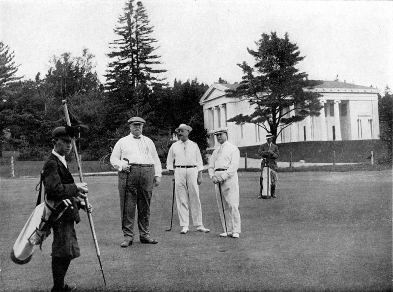 President William Howard Taft, center, visits Kebo Valley Golf Club on Mount Desert Island in 1910. With him are caddy Howard Clark and Capt. Archibald Butts.