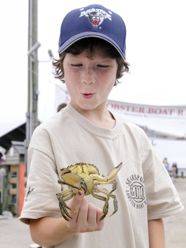 Colyn Rich, 8, holds a green crab caught by a friend on the town dock in Searsport. The townspeople gathered to catch the latest race in what has been a tradition for more than a century.