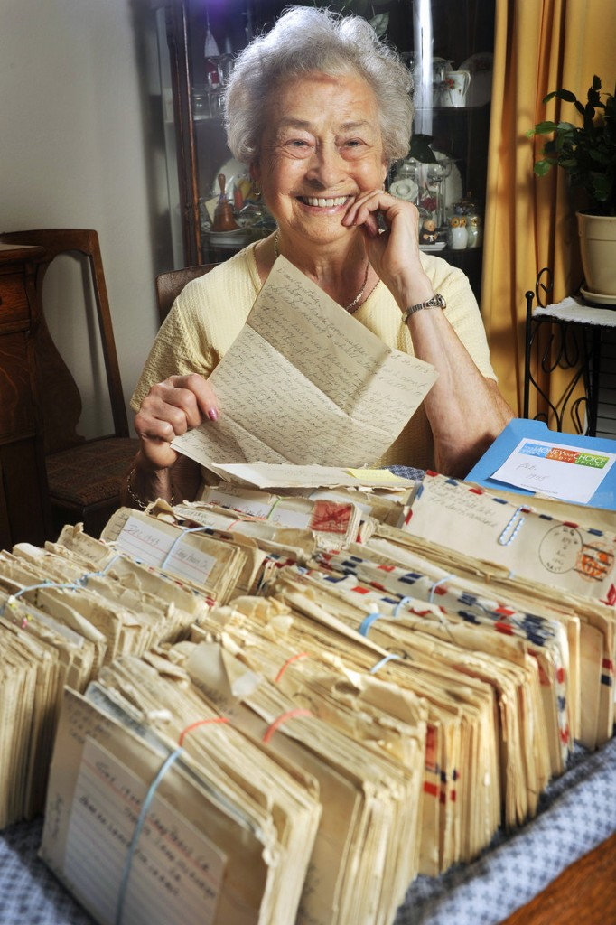 Cynthia Footer, 89, of Bath has more than 800 letters from her husband, Bob, written while he was serving in the Navy during World War II.