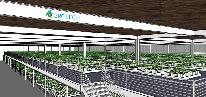 A computer image provided by architects for Gropech shows a plan for a 50,000-square-foot marijuana-growing operation. Gropech is interested in running one of four industrial-scale medical marijuana-growing plants that the Oakland City Council is considering licensing and taxing.