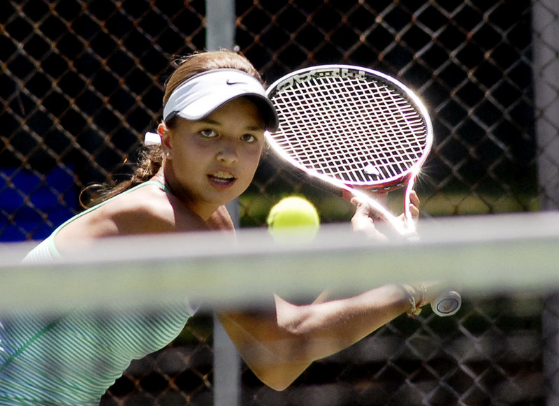 Meghan Kelley of Falmouth became the youngest singles champion in the 21-year history of the Betty Blakeman Memorial Tennis Tournament, winning the women's title.