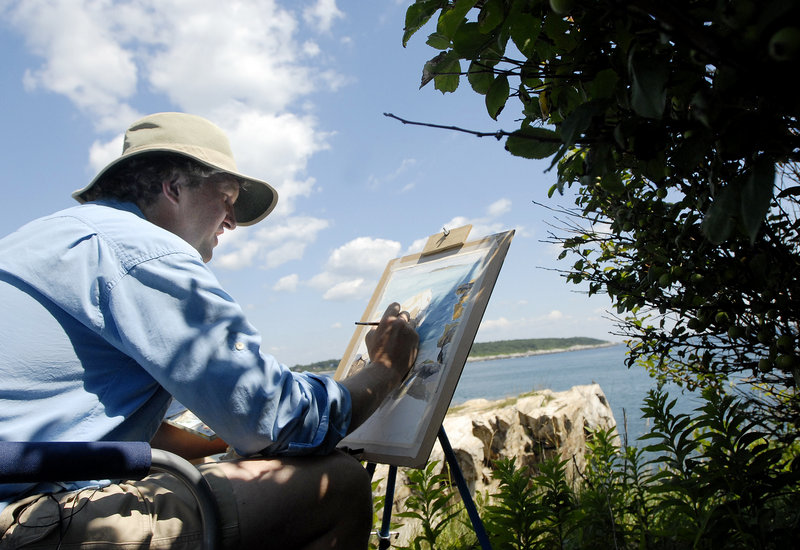 Michael Boardman of North Yarmouth paints a landscape of the cliffs in Fort Williams Park in Cape Elizabeth for the third annual Paint for Preservation event Sunday.