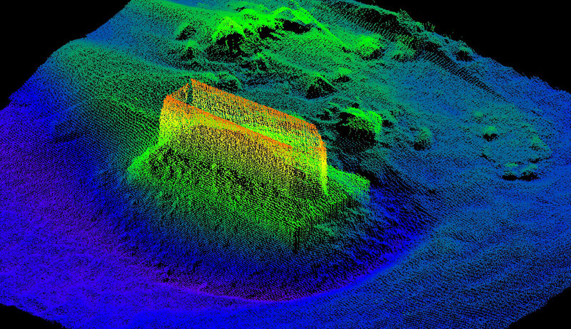 Color shading on the underwater image of one of the bridge piers provides baseline data to help monitor scour, a condition in which foundations can be undermined by moving water and lead to bridge failure.
