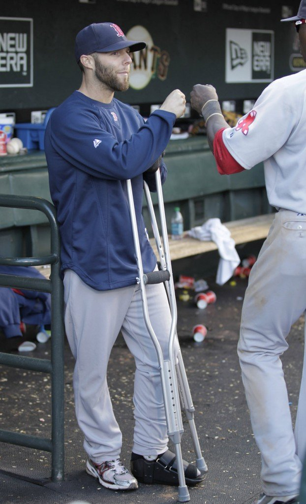 Dustin Pedroia has been on the disabled list since late June, and the 2008 American League MVP is still wearing a protective boot while his broken left foot heals.