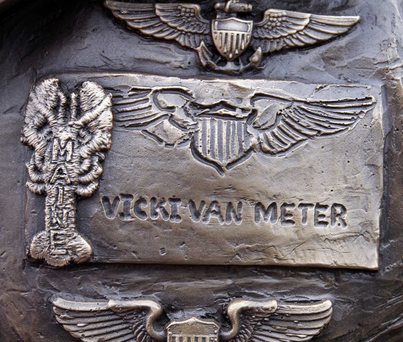 A close look at the statue of Vicki Van Meter shows the lobster patch she wore on her flight suit. A dedication ceremony is slated for today.