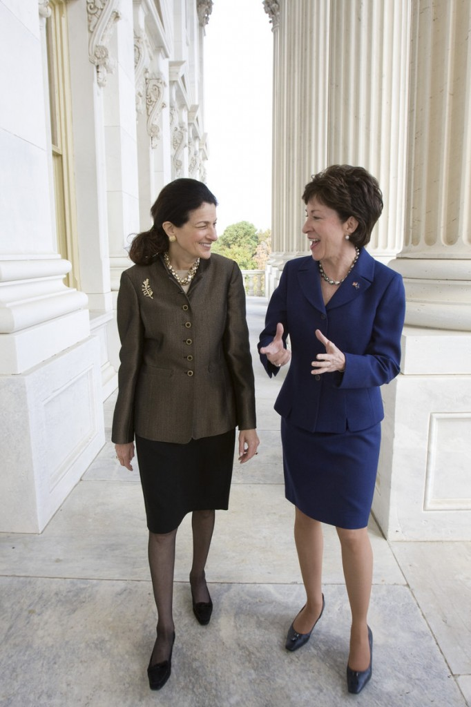 Maine Sens. Olympia Snowe, left, and Susan Collinswere the sole Republicans to support an extension for unemployment benefits in a key vote Tuesday.