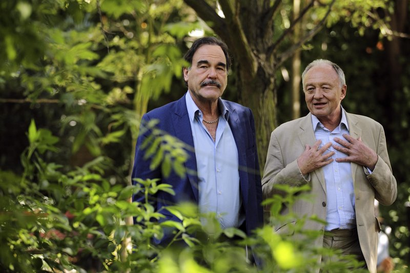 Oliver Stone, left, and former London mayor Ken Livingstone met in London, where Stone was promoting his new film on South American politics.