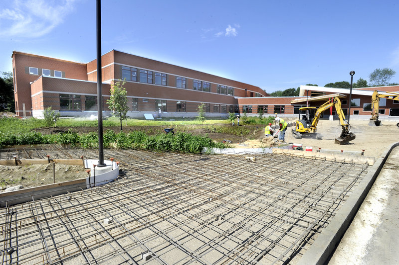 Walkways are ready for concrete finishing as construction of the $14.2 million Ocean Avenue Elementary School in Portland nears completion. The school will accommodate 440 students.