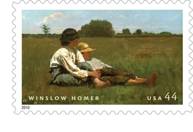 "Homer's ""Boys in a Pasture"" appears on a commemorative stamp to be issued on Aug. 12."