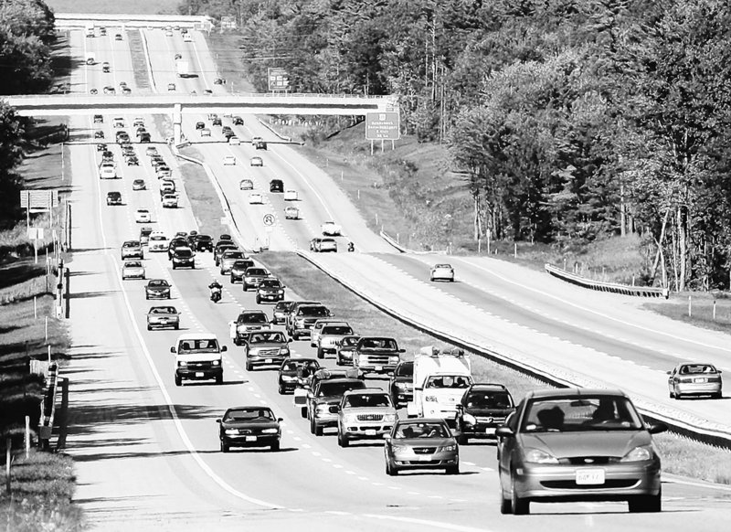 Southbound traffic builds on the Maine Turnpike as visitors head home after a Labor Day weekend.