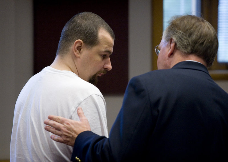 "Michael Potter, left, appears in court this week. His attorney says it's ""insanity"" that taxpayers spent $75,000 to house the sex offender for 19 months beyond his sentence."