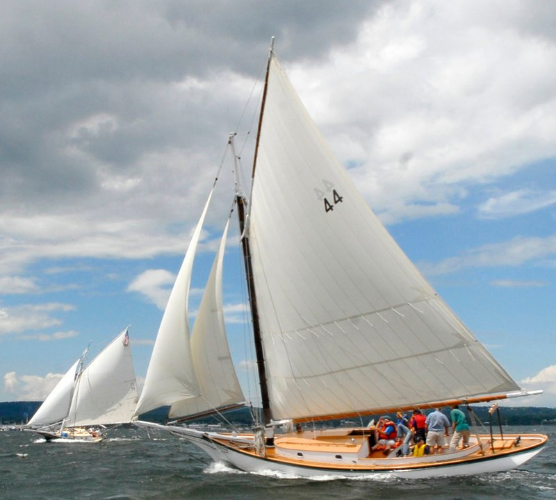 Sails fill during Thursday's competition in Rockland Harbor.