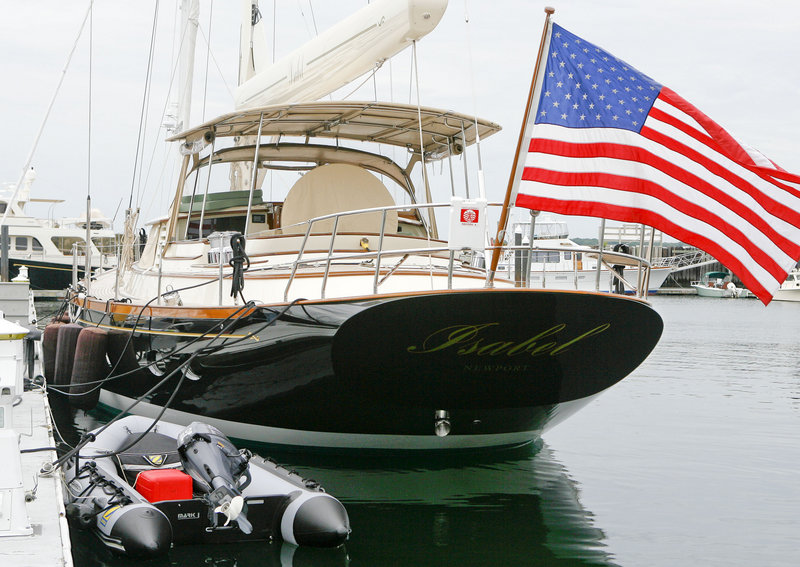 Isabel, the 76-foot yacht owned by Sen. John Kerry of Massachusetts, is being docked in Newport, R.I.