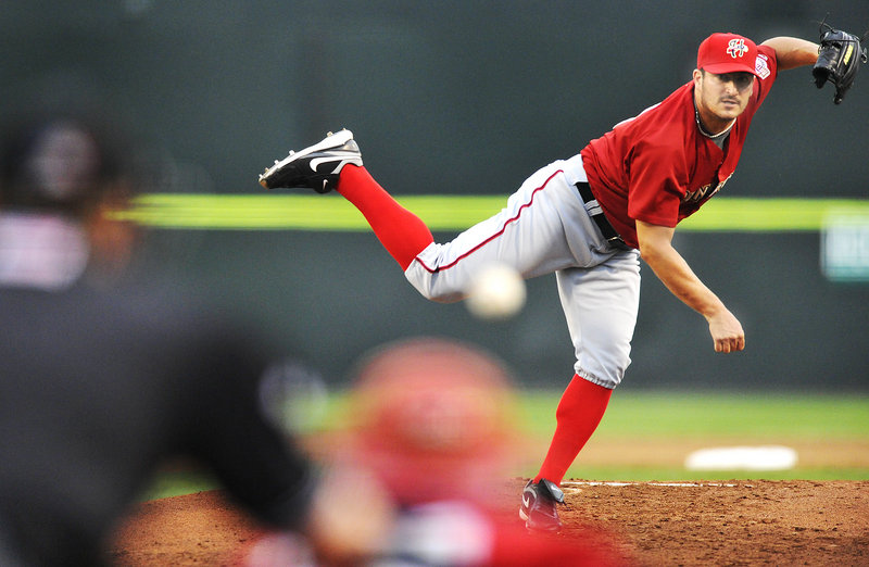 Jason Marquis, the Washington Nationals' pitcher on rehab after elbow surgery, threw 65 pitches Friday night for the Harrisburg Senators in a 7-5 victory against the Portland Sea Dogs, and said he felt he could have gone longer.