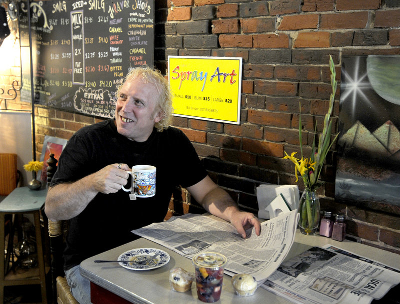 John Bryson, a regular at Oh Baby Cafe in Biddeford, has muffins and tea Monday. A new market research study finds breakfast is fueling growth in the restaurant business.