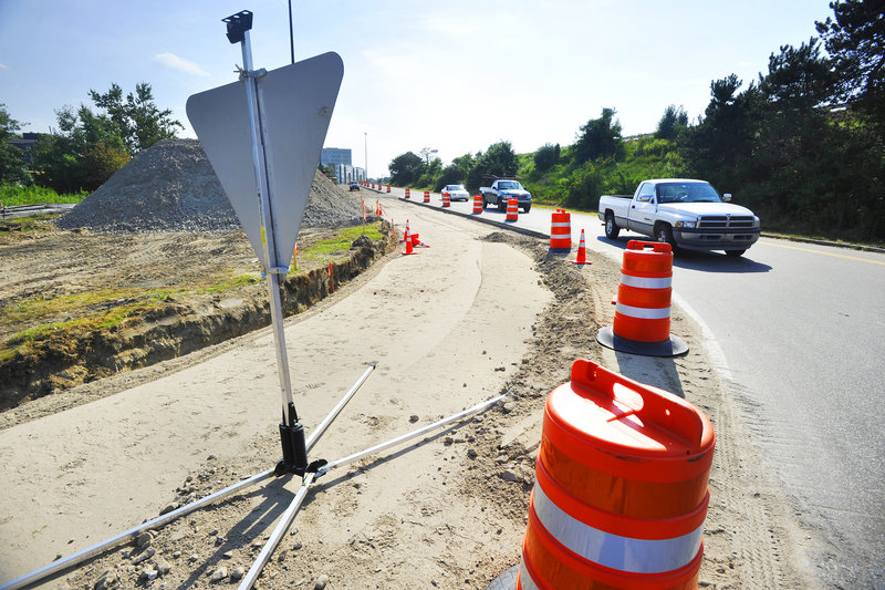Interstate 295 Exit 7 at Franklin Arterial in Portland is under construction Wednesday.