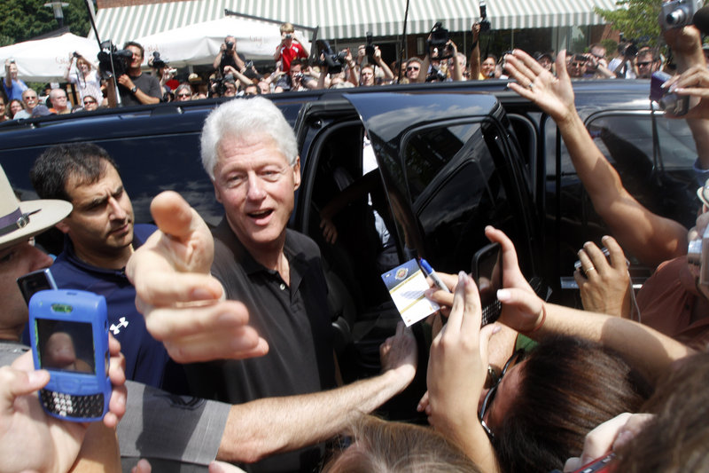 Former president Bill Clinton greets well wishers in Rhinebeck, N.Y., on Friday.