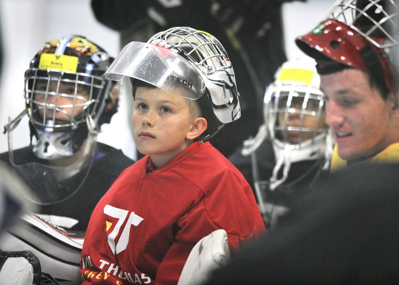 Some 60 participants between the ages of 6 and 17 attended this week's Tim Thomas Hockey Camp at Family Ice Center in Falmouth, along with a diverse group of instructors.