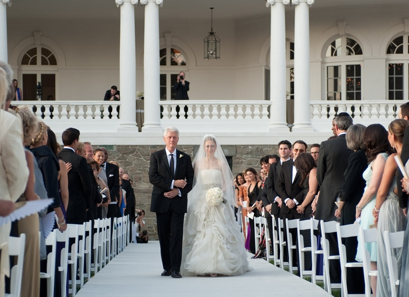 Former President Bill Clinton walks his daughter, Chelsea, down the aisle for her wedding Saturday in Rhinebeck, N.Y. Chelsea Clinton wed her longtime boyfriend, investment banker Marc Mezvinsky, after weeks of secrecy that had celebrity watchers flocking to the village.